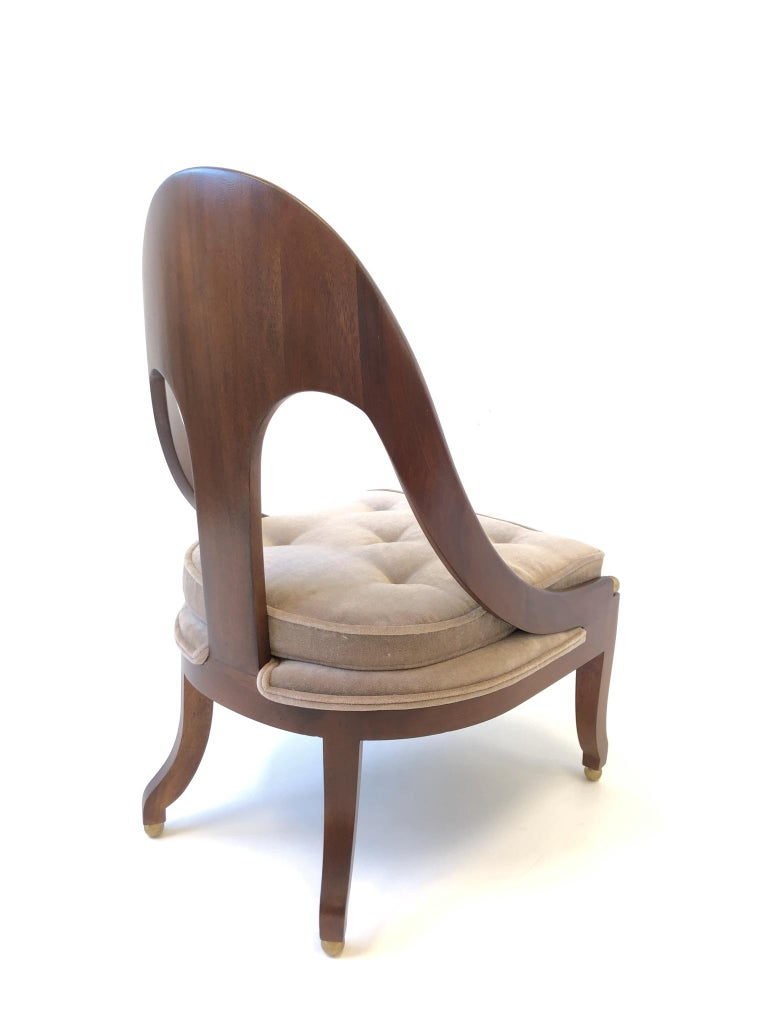 Pair of Mahogany Spoon Back Slipper Lounge Chairs by Michael Taylor for Baker For Sale 5