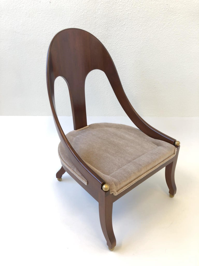 Pair of Mahogany Spoon Back Slipper Lounge Chairs by Michael Taylor for Baker For Sale 7