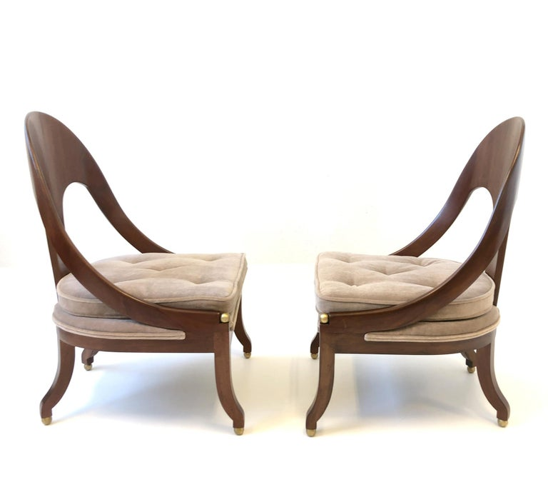 Pair of Mahogany Spoon Back Slipper Lounge Chairs by Michael Taylor for Baker For Sale 8