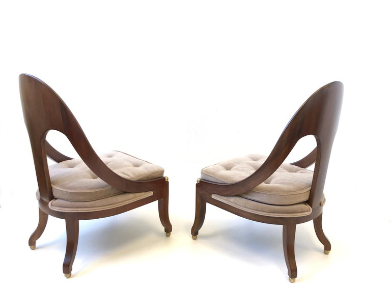 American Pair of Mahogany Spoon Back Slipper Lounge Chairs by Michael Taylor for Baker For Sale