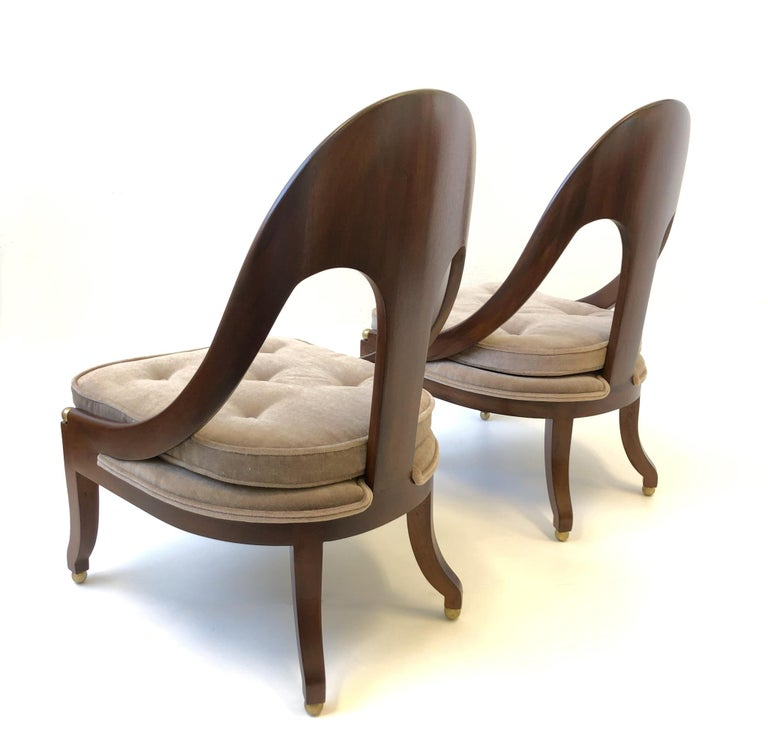 Mid-20th Century Pair of Mahogany Spoon Back Slipper Lounge Chairs by Michael Taylor for Baker For Sale