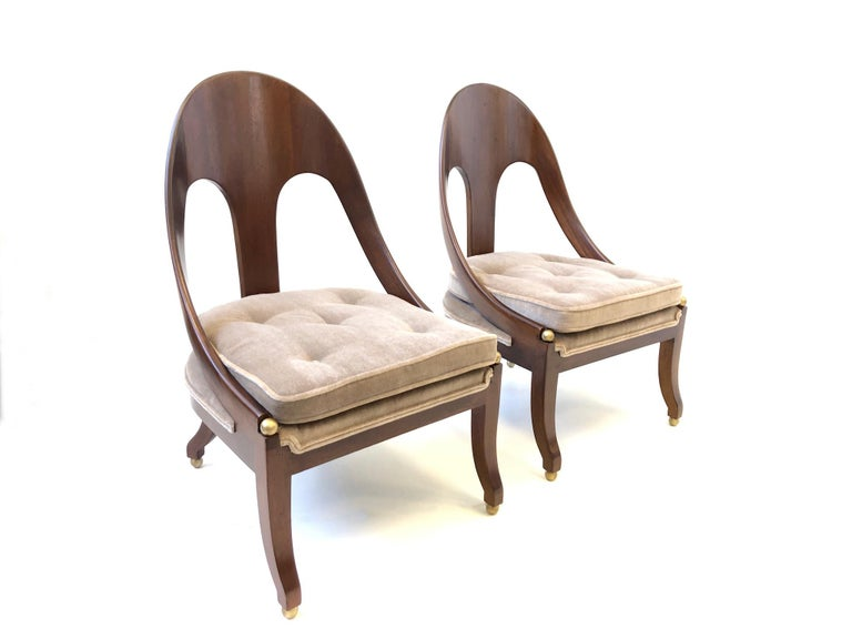 Mohair Pair of Mahogany Spoon Back Slipper Lounge Chairs by Michael Taylor for Baker For Sale