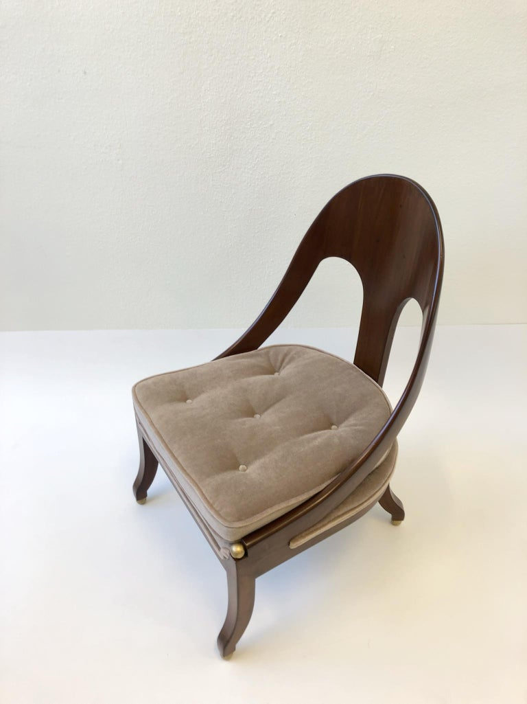 Pair of Mahogany Spoon Back Slipper Lounge Chairs by Michael Taylor for Baker For Sale 1