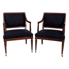 Pair of Mahogany Square Back Library Chairs