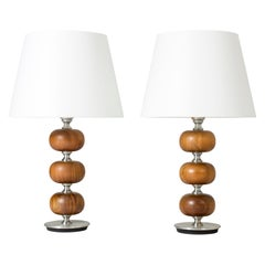 Pair of Mahogany Table Lamps by Henrik Blomqvist
