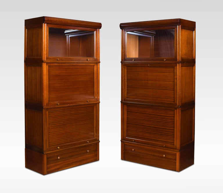 British Pair of Mahogany Three Sectional Bookcases For Sale