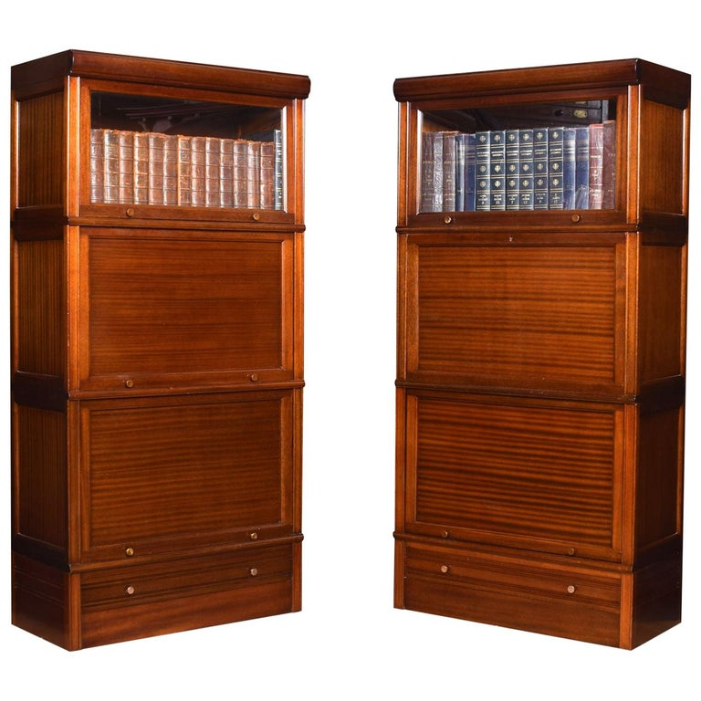 Pair of Mahogany Three Sectional Bookcases For Sale