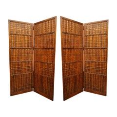 Pair of Mahogany Two Fold Floor Screens