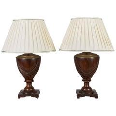 Pair of Mahogany Urn Shaped Lamps