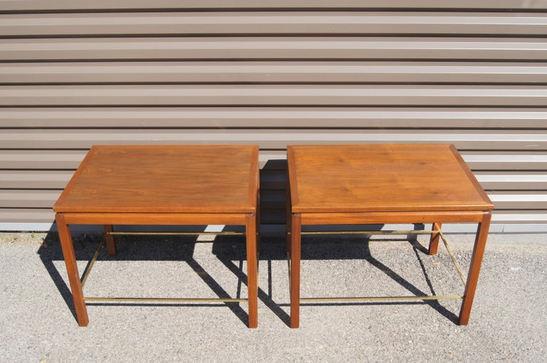 Mid-Century Modern Pair of Mahogany, Walnut, and Brass Side Tables by Edward Wormley for Dunbar For Sale