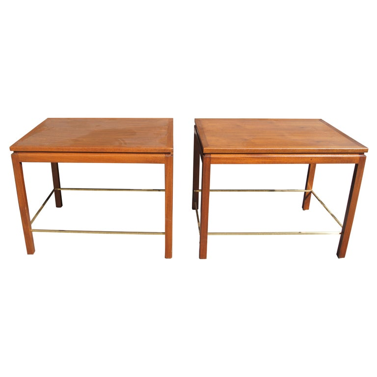 Pair of Mahogany, Walnut, and Brass Side Tables by Edward Wormley for Dunbar For Sale