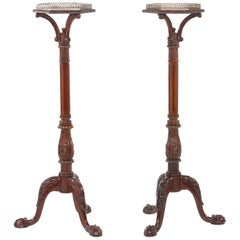 Pair Mahogany Wood / Gallery Top Tray Pedestal Tables