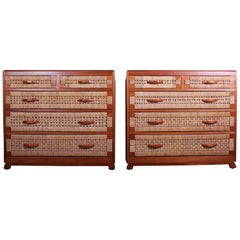 Pair of Mahogany Woven Front Chests