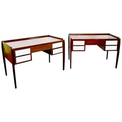Pair of Mahogany Writing Desks in the Style of Gio Ponti, Italy, 1950s-1960s