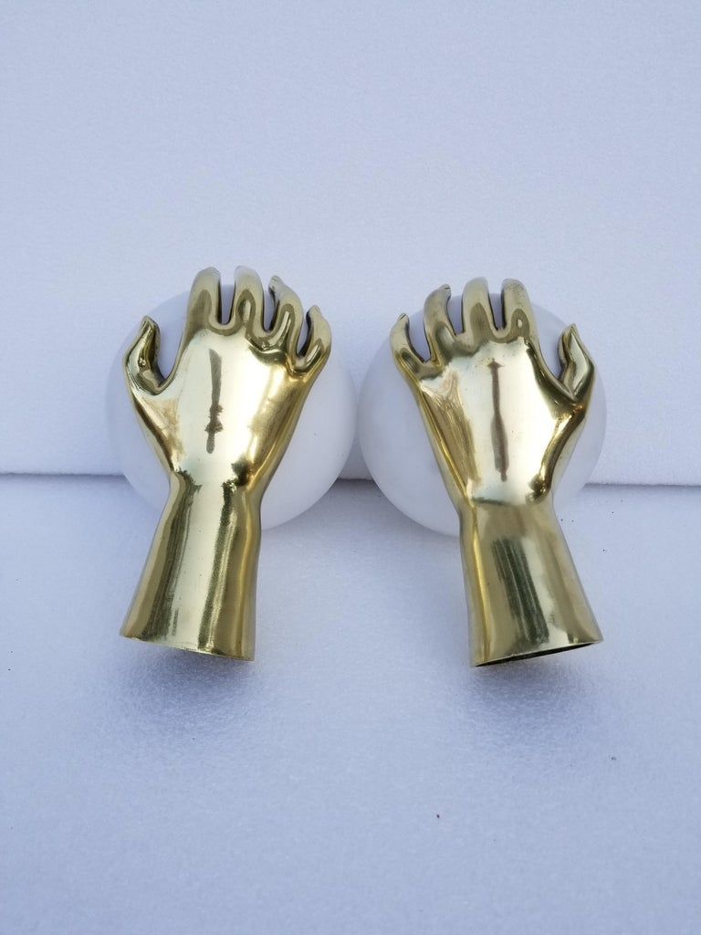 Mid-Century Modern Pair of Maison Arlus Bronze Hand Sconces, 2 Pairs Available For Sale