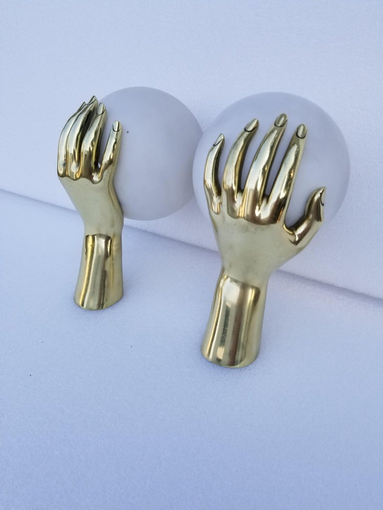 French Pair of Maison Arlus Bronze Hand Sconces, 2 Pairs Available For Sale