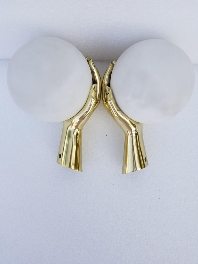Pair of Maison Arlus Bronze Hand Sconces, 2 Pairs Available For Sale 3