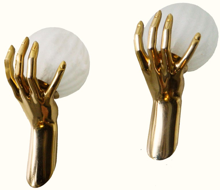 French Pair of Maison Arlus Pair of Gold Hands Sconces, 4 pairs Available  For Sale