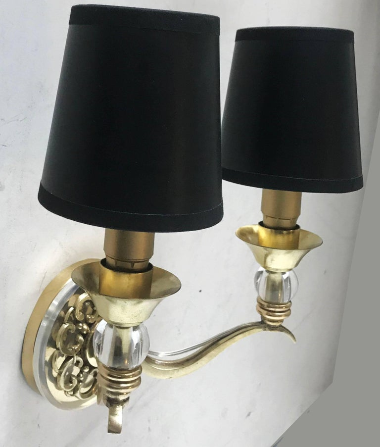 French Pair of Maison Arlus Sconces For Sale
