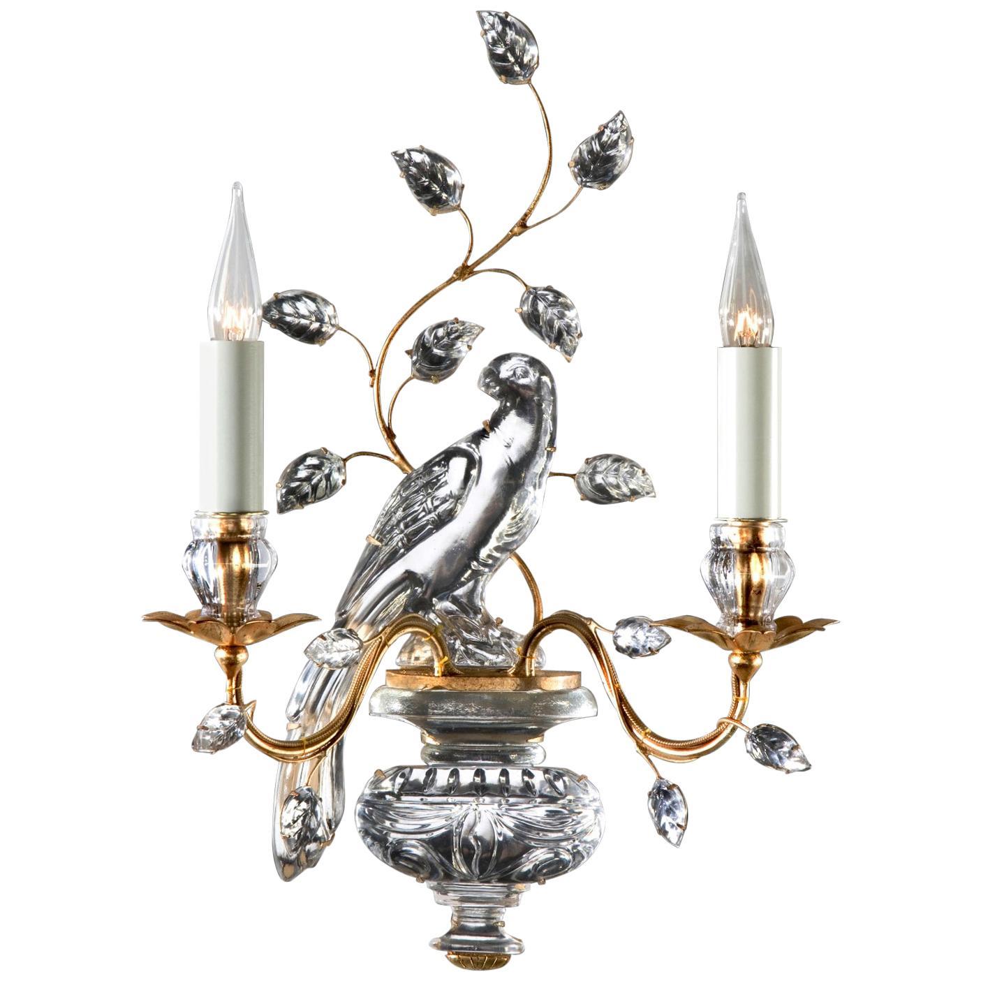 Pair of Maison Baguès Bird Crystal Sconces
