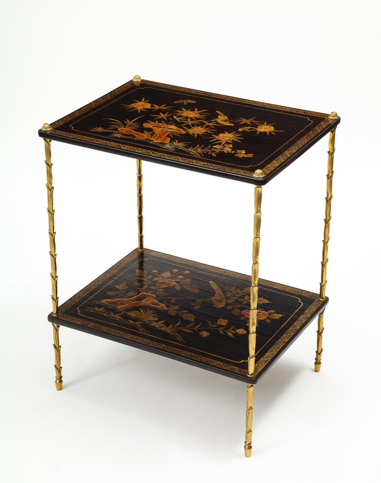 Chinoiserie Pair of Maison Baguès Black Lacquer and Gilt Two-Tier Tables For Sale