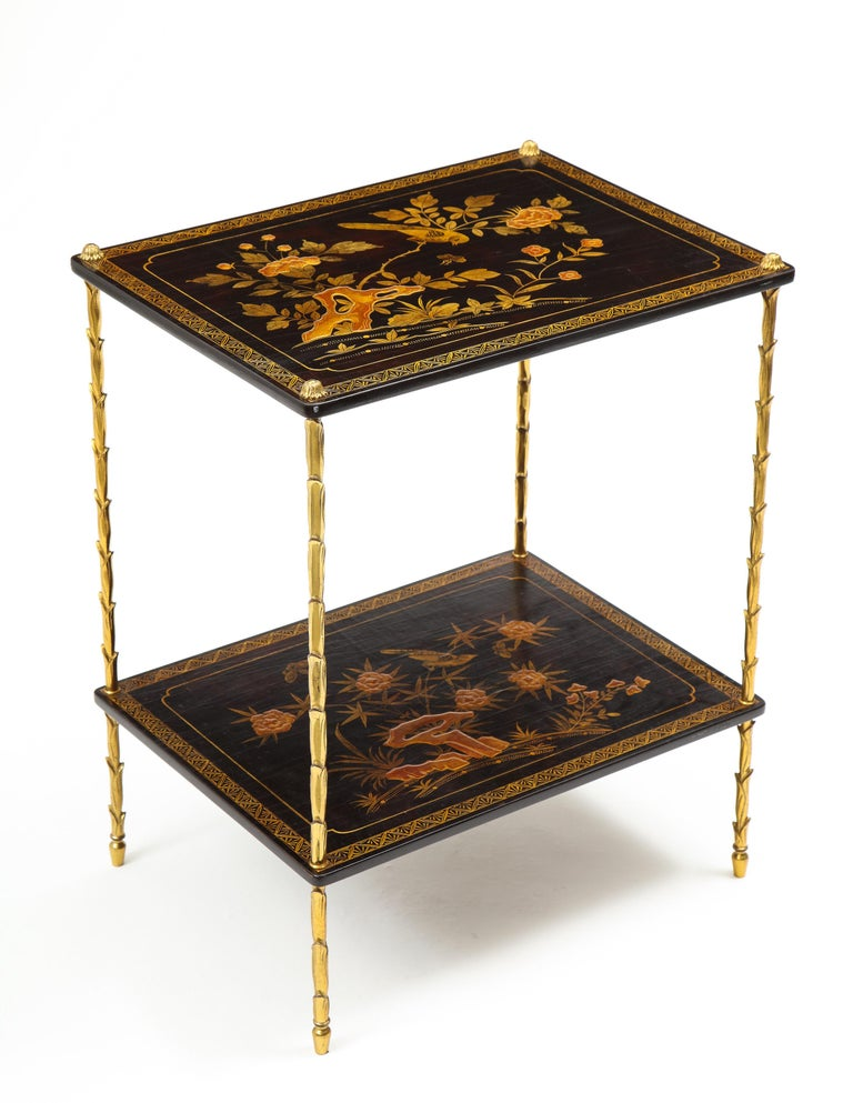 French Pair of Maison Baguès Black Lacquer and Gilt Two-Tier Tables For Sale
