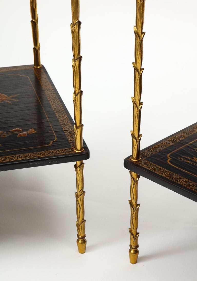 Pair of Maison Baguès Black Lacquer and Gilt Two-Tier Tables In Good Condition For Sale In New York, NY