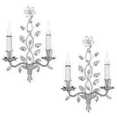Pair of Maison Baguès Crystal Sconces