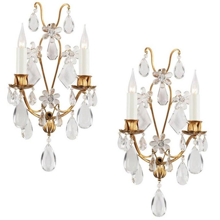 Pair of Maison Baguès Crystal Sconces