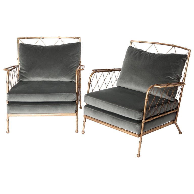 Pair of French Gilt Iron Faux Bamboo Armchairs Mousegrey Velvet For Sale