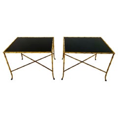 Pair of Maison Bagues French Gilt Iron Faux Bamboo Side Tables
