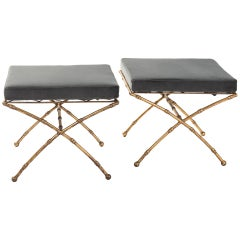 Pair of Maison Baguès French Gilt Iron Faux Bamboo Stools Mousegrey Velvet