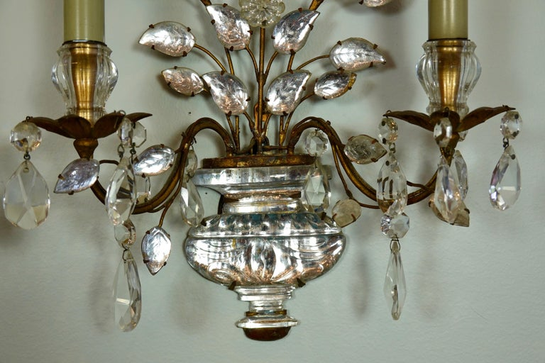 Pair of Maison Bagues Gilt-Iron and Crystal Flower and Leaf Sconces For Sale 4
