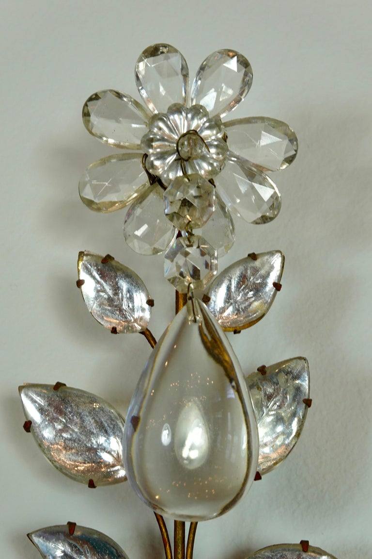 Pair of Maison Bagues Gilt-Iron and Crystal Flower and Leaf Sconces For Sale 5