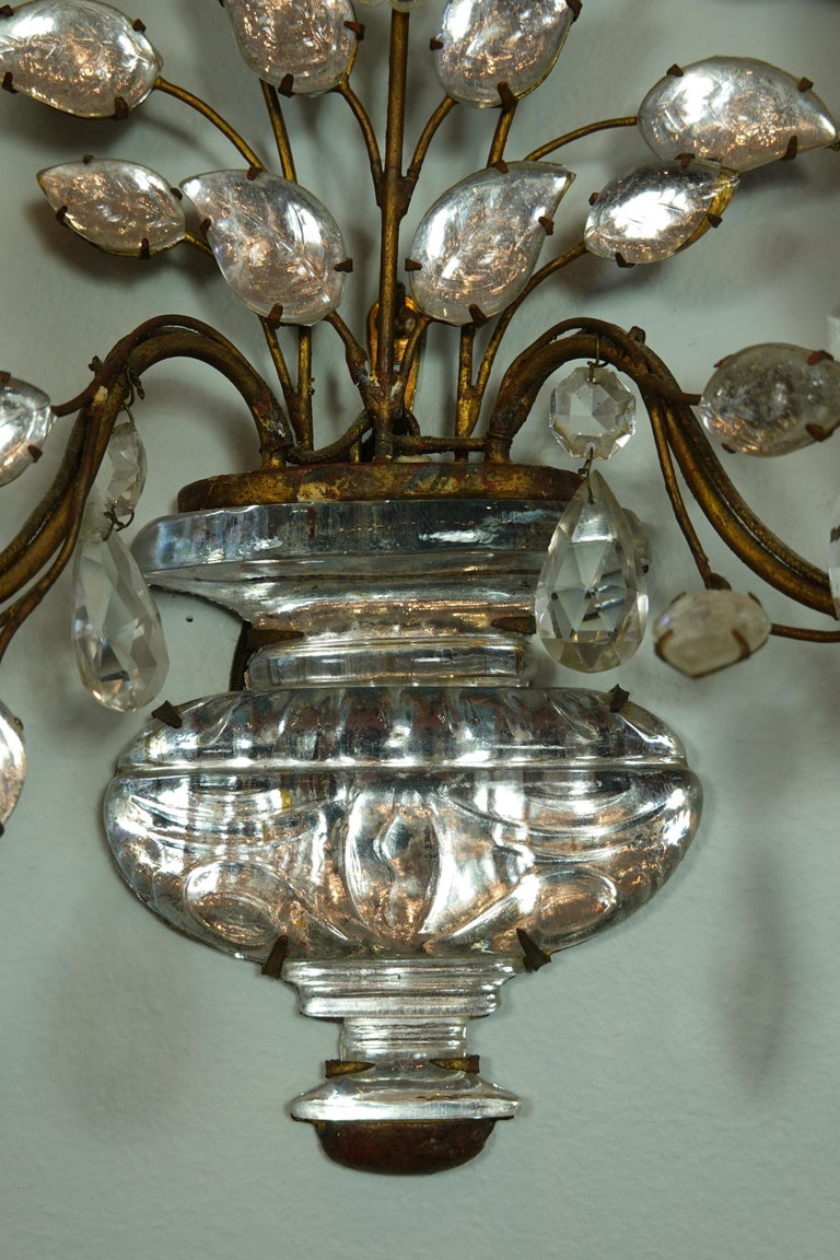 Pair of Maison Bagues Gilt-Iron and Crystal Flower and Leaf Sconces For Sale 7