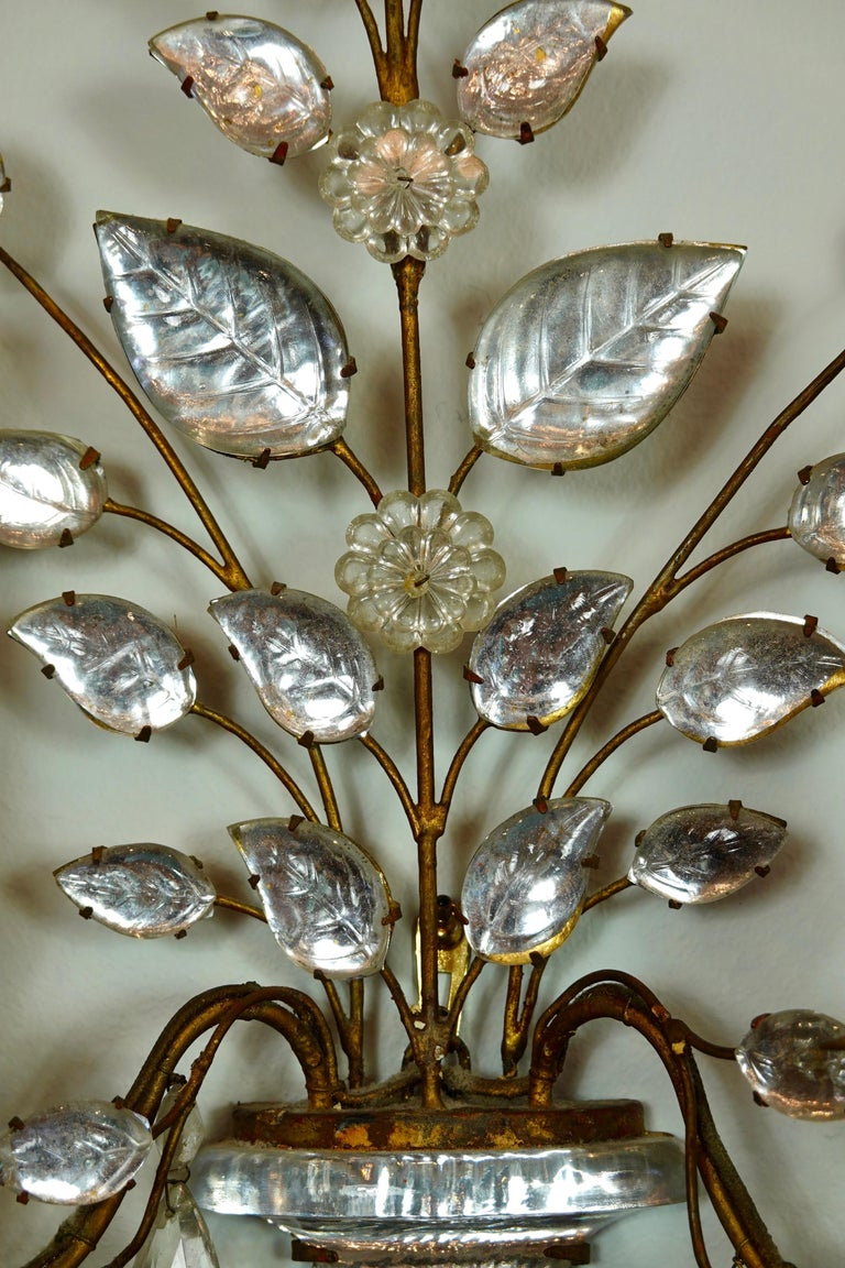Pair of Maison Bagues Gilt-Iron and Crystal Flower and Leaf Sconces For Sale 8