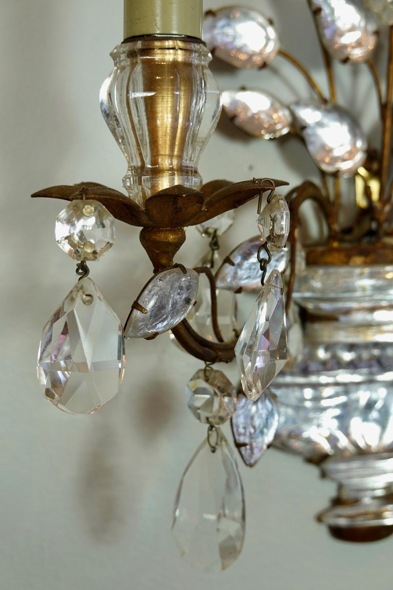 Pair of Maison Bagues Gilt-Iron and Crystal Flower and Leaf Sconces For Sale 9