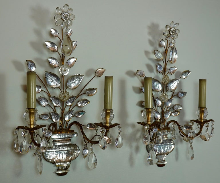 Art Deco Pair of Maison Bagues Gilt-Iron and Crystal Flower and Leaf Sconces For Sale