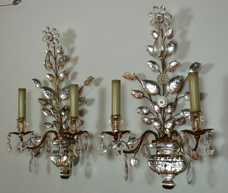 French Pair of Maison Bagues Gilt-Iron and Crystal Flower and Leaf Sconces For Sale