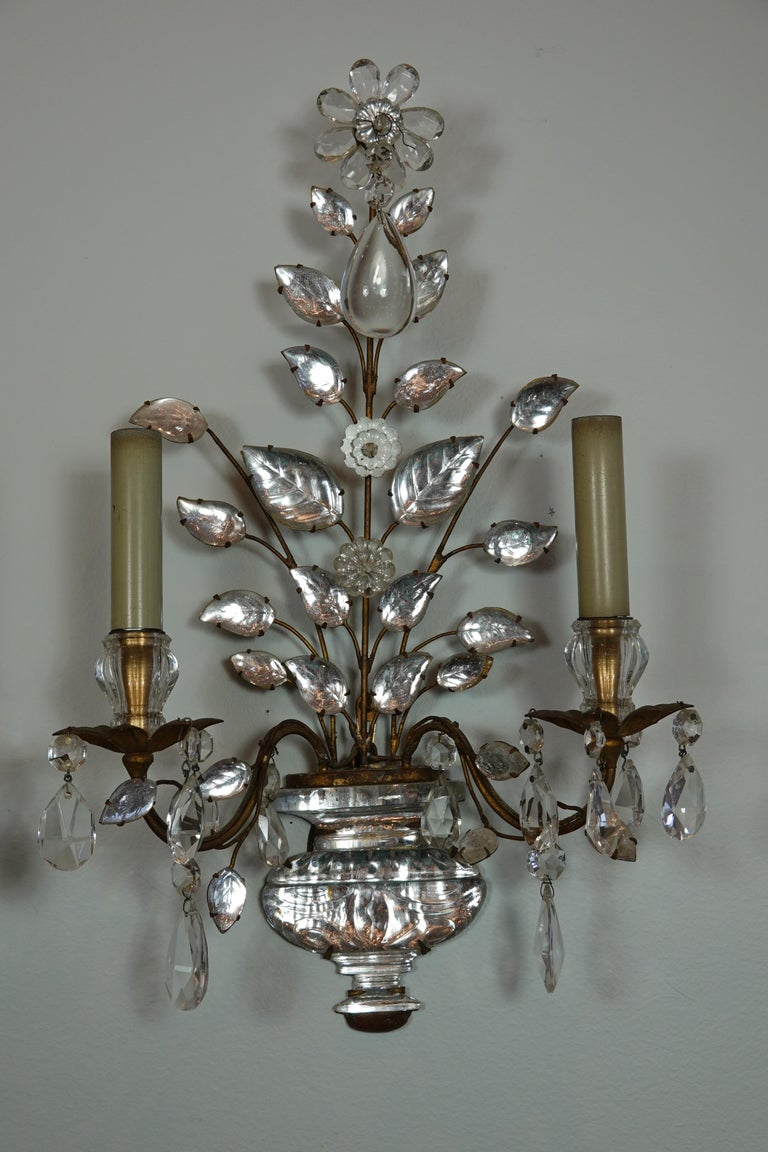Pair of Maison Bagues Gilt-Iron and Crystal Flower and Leaf Sconces In Good Condition For Sale In Charleston, SC