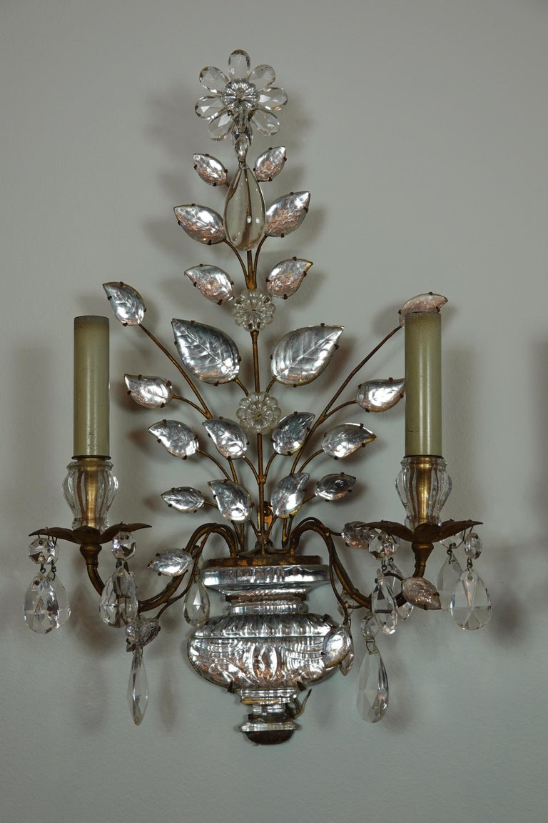 20th Century Pair of Maison Bagues Gilt-Iron and Crystal Flower and Leaf Sconces For Sale