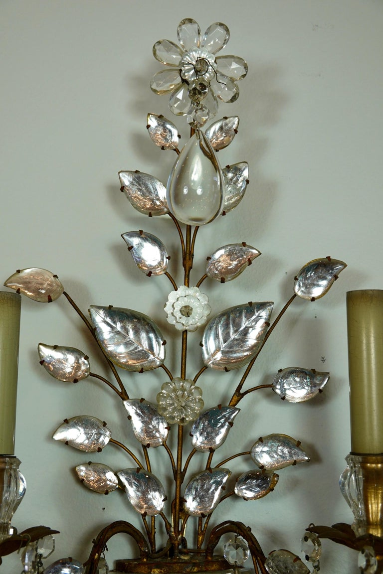 Pair of Maison Bagues Gilt-Iron and Crystal Flower and Leaf Sconces For Sale 1