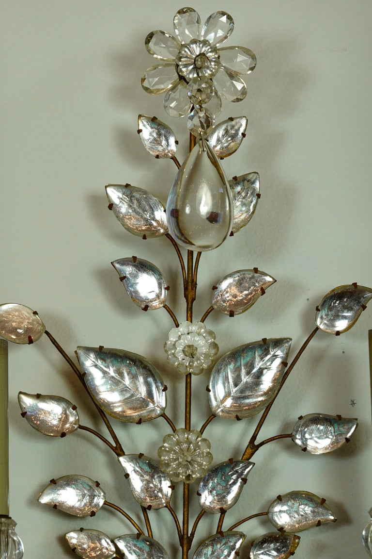 Pair of Maison Bagues Gilt-Iron and Crystal Flower and Leaf Sconces For Sale 2