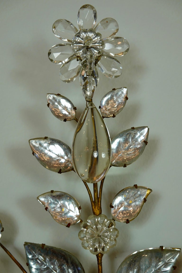 Pair of Maison Bagues Gilt-Iron and Crystal Flower and Leaf Sconces For Sale 3