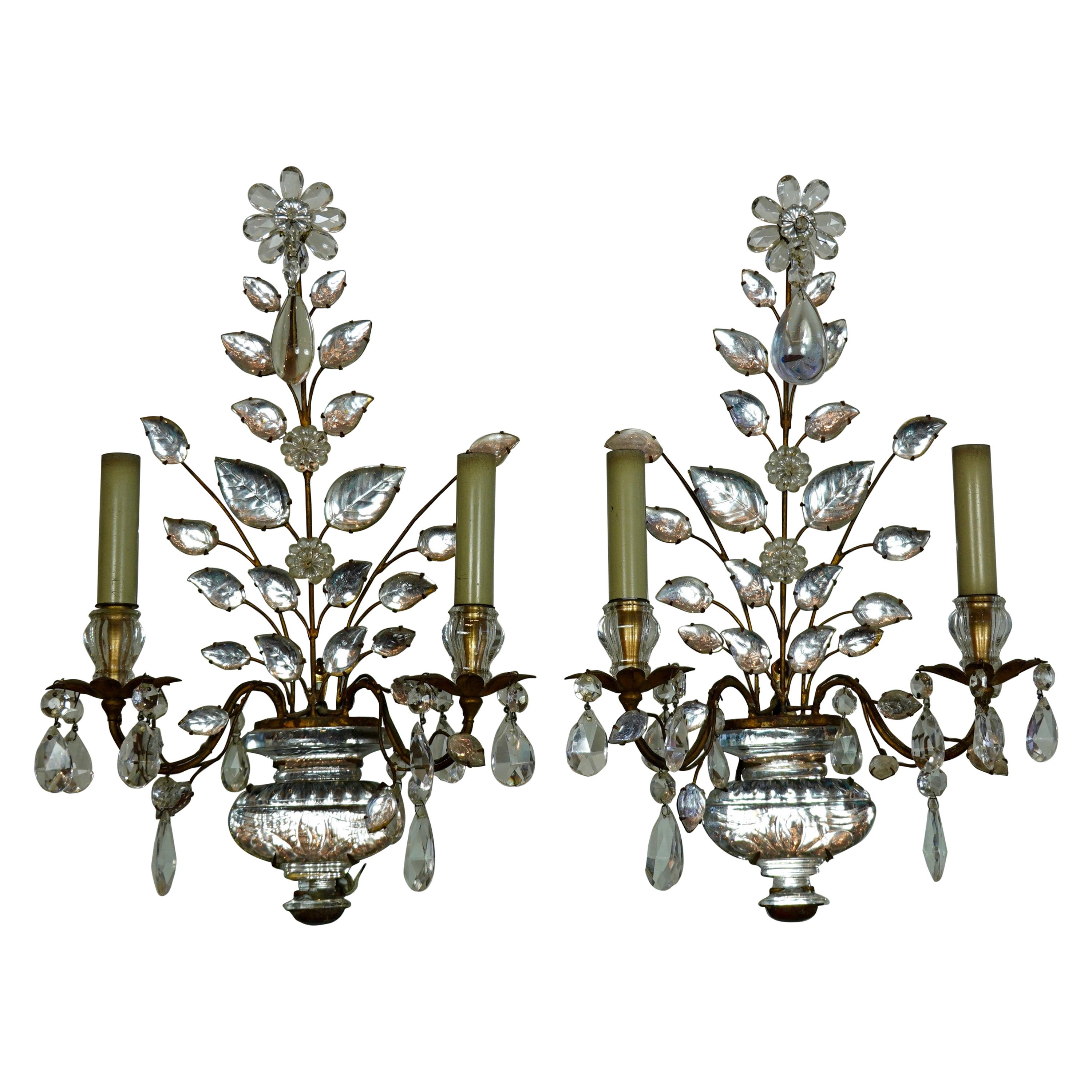 Pair of Maison Bagues Gilt-Iron and Crystal Flower and Leaf Sconces