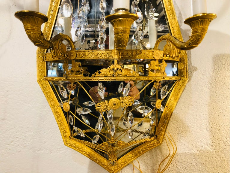 Pair of Maison Baguès Mirrored Wall Lights, Sconces or Girandoles For Sale 8