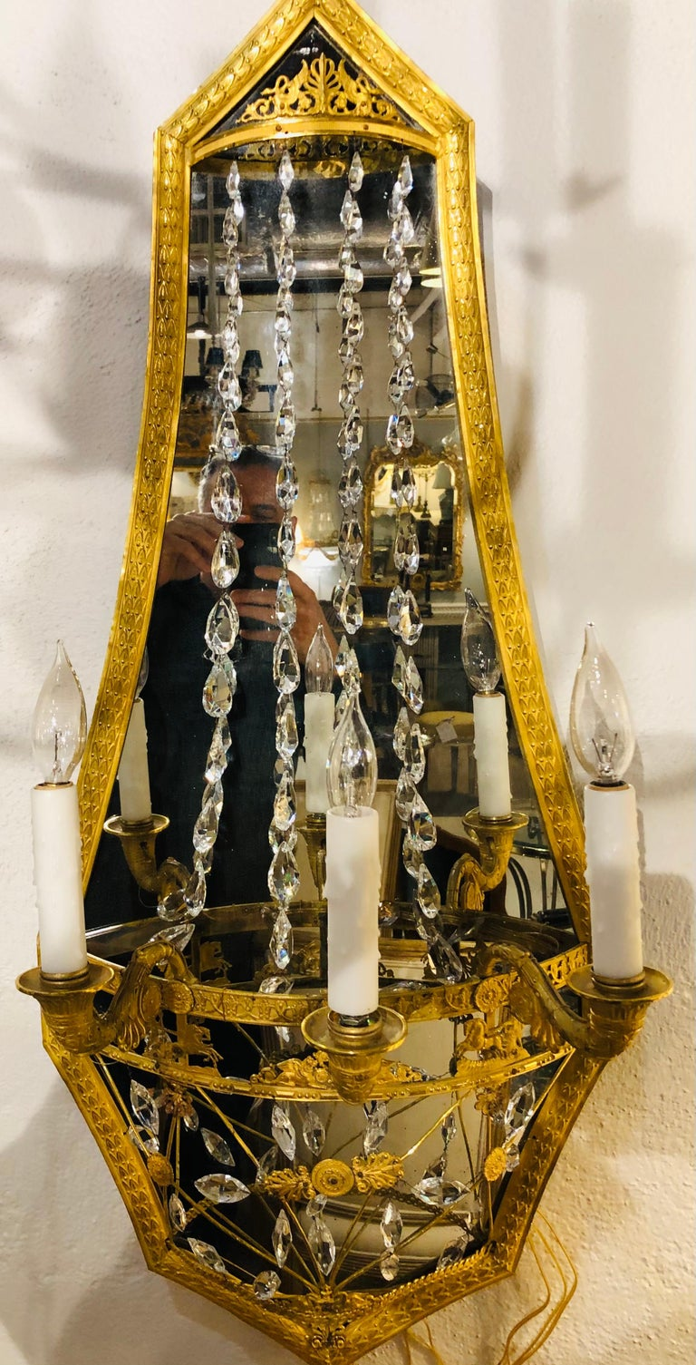 Pair of Maison Baguès Mirrored Wall Lights, Sconces or Girandoles For Sale 1