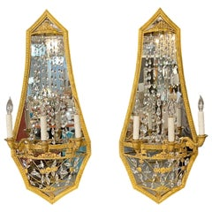 Pair of Maison Baguès Mirrored Wall Lights, Sconces or Girandoles