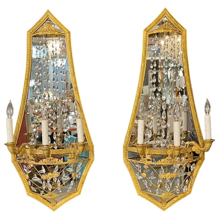 Pair of Maison Baguès Mirrored Wall Lights, Sconces or Girandoles For Sale