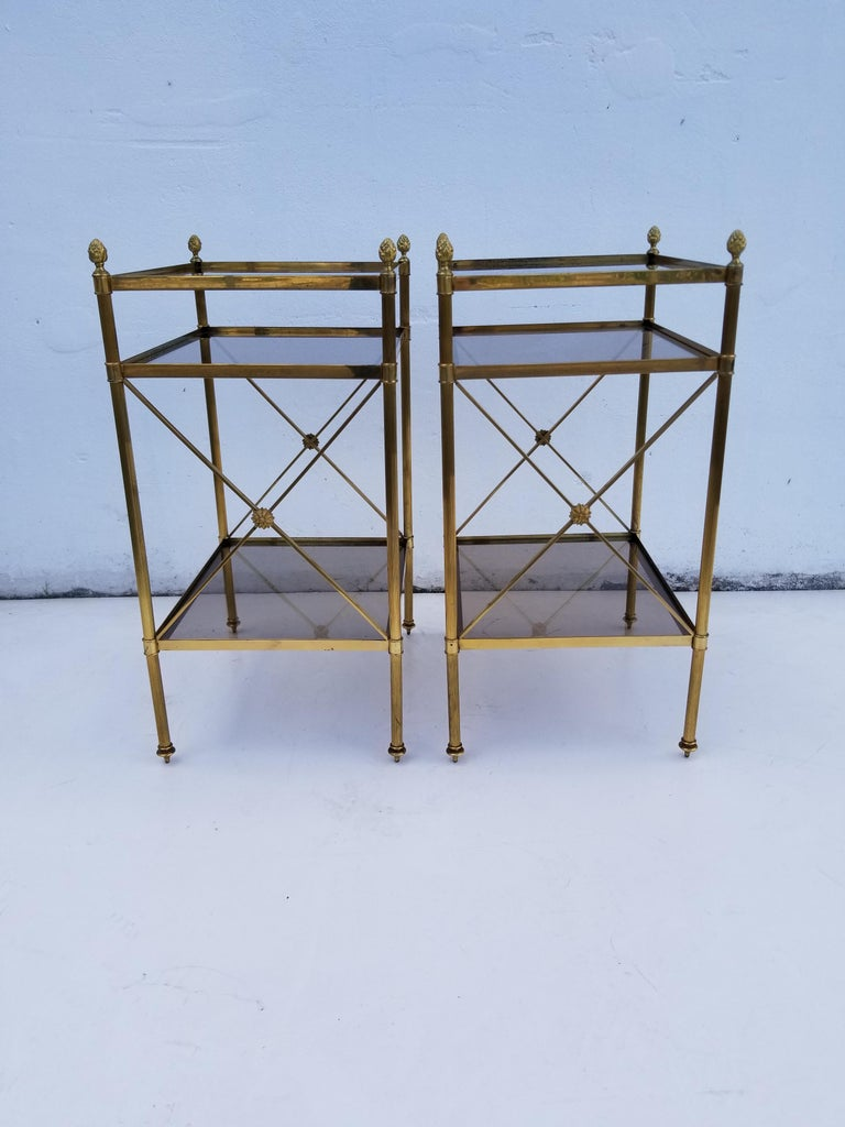 Pair of Maison Baguès 3-tier side tables.